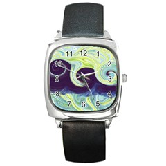 Abstract Ocean Waves Square Metal Watches