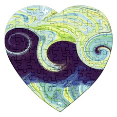 Abstract Ocean Waves Jigsaw Puzzle (Heart)