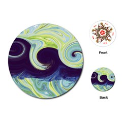 Abstract Ocean Waves Playing Cards (Round)