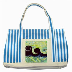 Abstract Ocean Waves Striped Blue Tote Bag