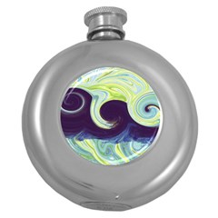 Abstract Ocean Waves Round Hip Flask (5 Oz)