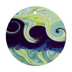 Abstract Ocean Waves Round Ornament (Two Sides)