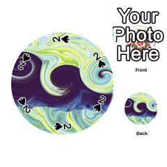 Abstract Ocean Waves Playing Cards 54 (round)