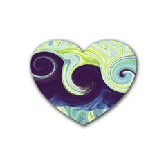 Abstract Ocean Waves Rubber Coaster (Heart)