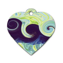Abstract Ocean Waves Dog Tag Heart (two Sides)