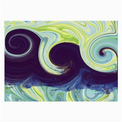 Abstract Ocean Waves Large Glasses Cloth