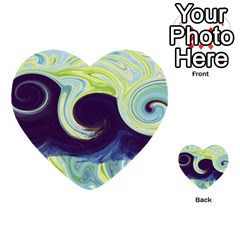 Abstract Ocean Waves Multi-purpose Cards (Heart)