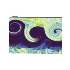 Abstract Ocean Waves Cosmetic Bag (Large)
