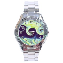 Abstract Ocean Waves Stainless Steel Men s Watch
