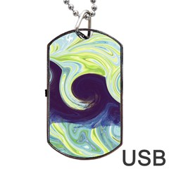 Abstract Ocean Waves Dog Tag USB Flash (One Side)
