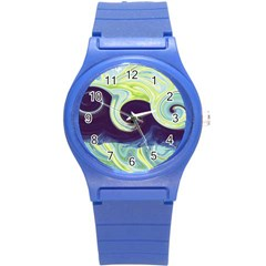 Abstract Ocean Waves Round Plastic Sport Watch (s)