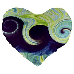 Abstract Ocean Waves Large 19  Premium Heart Shape Cushions