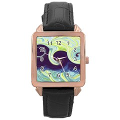 Abstract Ocean Waves Rose Gold Watches