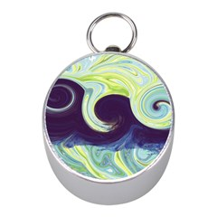 Abstract Ocean Waves Mini Silver Compasses