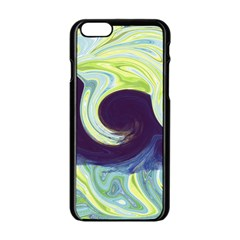 Abstract Ocean Waves Apple iPhone 6/6S Black Enamel Case