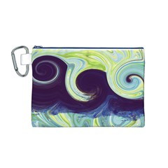 Abstract Ocean Waves Canvas Cosmetic Bag (m)