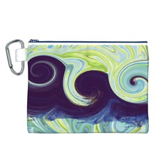 Abstract Ocean Waves Canvas Cosmetic Bag (l)