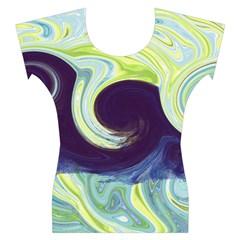 Abstract Ocean Waves Women s Cap Sleeve Top