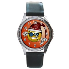 Funny Christmas Smiley With Sunglasses Round Metal Watches