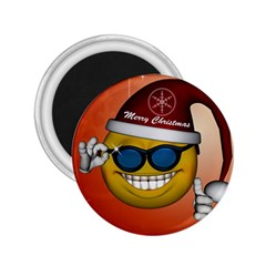 Funny Christmas Smiley With Sunglasses 2 25  Magnets