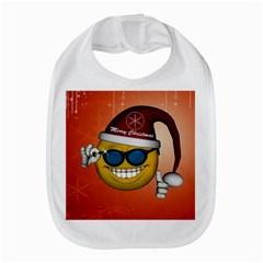 Funny Christmas Smiley With Sunglasses Bib