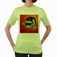 Funny Christmas Smiley With Sunglasses Women s Green T Shirt