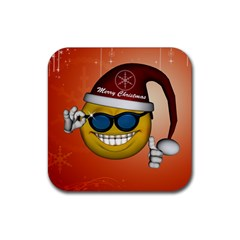 Funny Christmas Smiley With Sunglasses Rubber Coaster (Square)