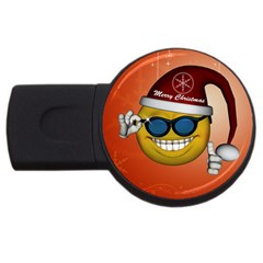 Funny Christmas Smiley With Sunglasses USB Flash Drive Round (2 GB)