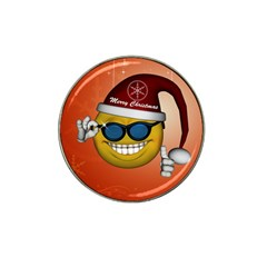 Funny Christmas Smiley With Sunglasses Hat Clip Ball Marker (10 Pack)