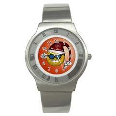 Funny Christmas Smiley With Sunglasses Stainless Steel Watches