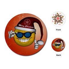 Funny Christmas Smiley With Sunglasses Playing Cards (Round)