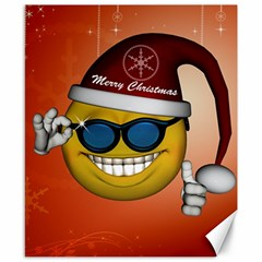 Funny Christmas Smiley With Sunglasses Canvas 8  x 10