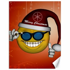 Funny Christmas Smiley With Sunglasses Canvas 18  x 24