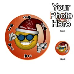 Funny Christmas Smiley With Sunglasses Playing Cards 54 (Round)