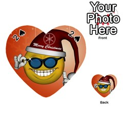 Funny Christmas Smiley With Sunglasses Playing Cards 54 (heart)