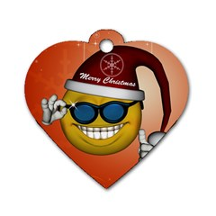 Funny Christmas Smiley With Sunglasses Dog Tag Heart (one Side)