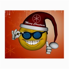 Funny Christmas Smiley With Sunglasses Small Glasses Cloth (2-Side)