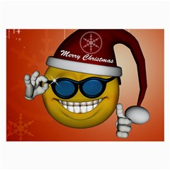 Funny Christmas Smiley With Sunglasses Large Glasses Cloth (2-Side)