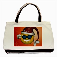 Funny Christmas Smiley With Sunglasses Basic Tote Bag (two Sides)