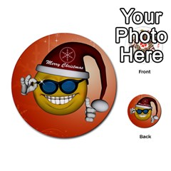 Funny Christmas Smiley With Sunglasses Multi Purpose Cards (round)