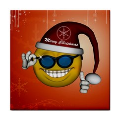 Funny Christmas Smiley With Sunglasses Face Towel