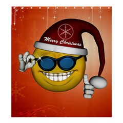 Funny Christmas Smiley With Sunglasses Shower Curtain 66  x 72  (Large)