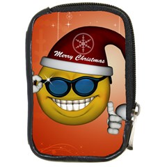 Funny Christmas Smiley With Sunglasses Compact Camera Cases
