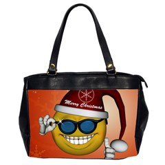 Funny Christmas Smiley With Sunglasses Office Handbags (2 Sides)