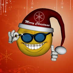Funny Christmas Smiley With Sunglasses Magic Photo Cubes