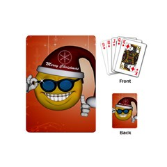 Funny Christmas Smiley With Sunglasses Playing Cards (Mini)