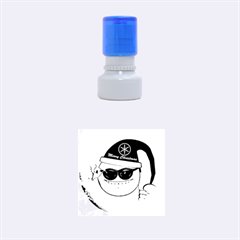 Funny Christmas Smiley With Sunglasses Rubber Round Stamps (Small)