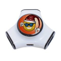 Funny Christmas Smiley With Sunglasses 3-Port USB Hub