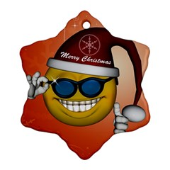 Funny Christmas Smiley With Sunglasses Ornament (Snowflake)