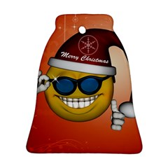 Funny Christmas Smiley With Sunglasses Bell Ornament (2 Sides)
